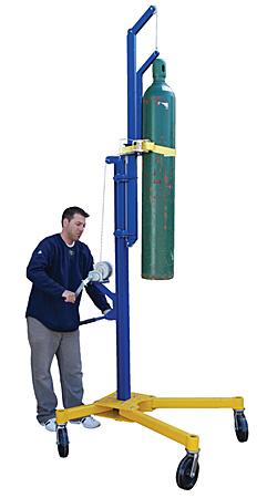 Safer handling of compressed gas or oxygen tanks