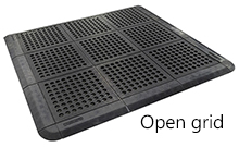 Open grid mat with ramp edges