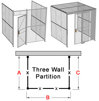 Wire Security Cage, 3-Wall | Triple Wall Partition | 3-Sides