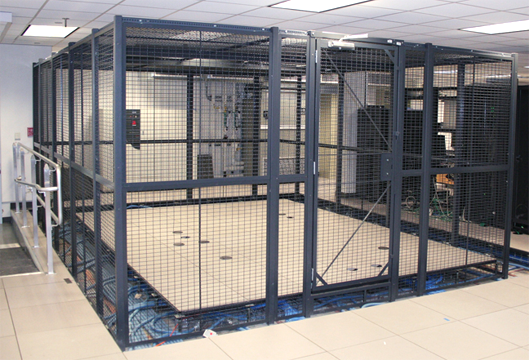 Security cage with drop floor in a datacenter