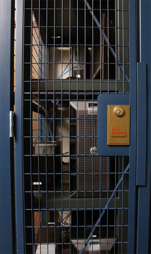 server cage door and locking system
