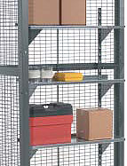 Hanging shelves for wire partitions