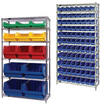 Wire Shelving with Bins