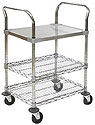 Wire Utility Shelf Cart Solid Top Shelf