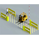 Forklift safety gate systems