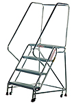 Aluminum Mobile Ladder Stands with Handrail