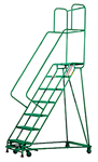 Welded Steel Mobile Ladder Stands with Handrails
