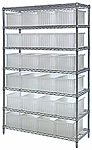 Wire Shelving with Clear View Dividable Grid Containers