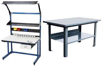 Workbenches - steel top heavy duty & cantilever industrial style