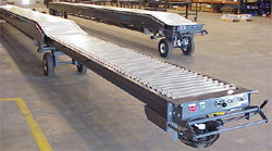 Extended dock loading conveyor drive in roller type