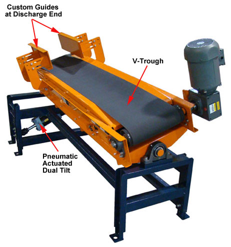 tilting discharge belt conveyor