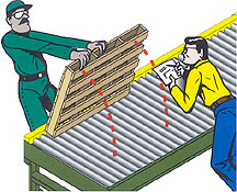 Inspect the bottom of the pallets you intend to convey