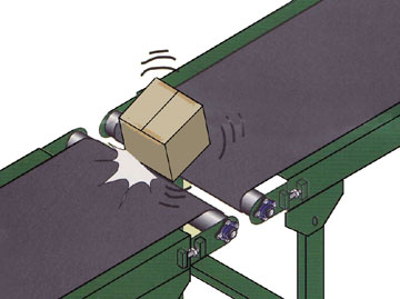 small packages on conveyor transfer