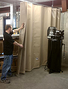 Sound Dampening Curtain in Use