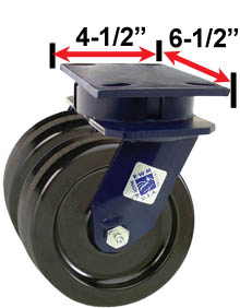 RWM Industrial Caster  75 Series Dual Casters with Wheels