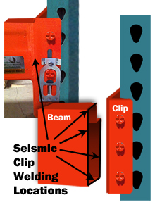 seismic clip welding locations