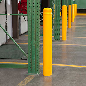 flexible bollards protecting rack uprights