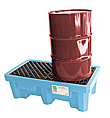 2-Drum Fluorinated Spill Containment Pallet - Light Blue, No Drain