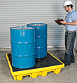 Nestable Low-Profile 4-Drum Spill Containment Pallet - No Drain, Yellow