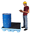 4-Drum Fluorinated Spill Containment Pallet - Light Blue, No Drain