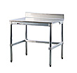 "Stainless Steel Topped Table w/ Backsplash - 24""D x 34""H x 48""L"