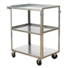 "Stainless Steel Service Cart with Three Shelves - 24""L x 15.5""W"