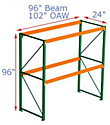 Pallet Rack Starter - 96h x 24d x 96.25w, 2 Beam Levels - 3155 Cap. Beams