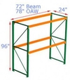 Pallet Rack Starter - 96h x 24d x 72w, 2 Beam Levels - 4000 Cap. Beams