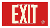 "EXIT Sign, 6"" Letters - UL924 ETL-Listed, Photoluminescent, Red Aluminum Panel, Unframed"