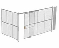 "2-Wall Woven Wire Security Cage, No Ceiling, 16'4"" x 8'2"" x 8'5-1/4"" with 4' sliding gate"