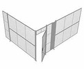 "2-Wall Woven Wire Security Cage, No Ceiling, 16'4"" x 12'4"" x 8'5-1/4"" with 3' hinged gate"