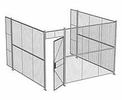 "3-Wall Woven Wire Security Cage, No Ceiling, 12'6"" x 12'4"" x 8'5-1/4"" with 3' hinged gate"