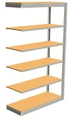 "Low Profile Rivet Shelving, 48""w x 12""d x 84""h, 250Lbs. Cap., 6 Shelves - Adder - With Decking"