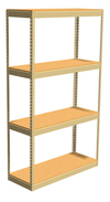 "Double Rivet Shelving, 4 Shelf, 48""W x 24""D x 84""H, Starter, w/Decks, 1400 lbs. Shelf Cap."