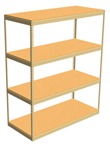 "Double Rivet Shelving, 4 Shelf, 60""W x 24""D x 84""H, Starter, w/Decks, 1200 lbs. Shelf Cap."