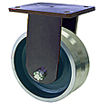 "95 Series Rigid Caster - 10"" x 3"" V-Groove Forged Steel Wheel - 6,000 lb. Cap."