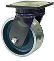 "95 Series Swivel Caster - 8"" x 4"" V-Groove Forged Steel Wheel - 10,000 lb. Cap."