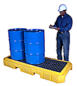 3-Drum Spill Containment Pallet - Low Profile, with Drain, Yellow