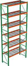"Pallet Rack with Wire Decking - Starter with 6 Beam Levels - 96""w x 42""d x 240""h"