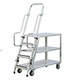 "Aluminum Ladder Cart - 3 Shelf, 22""W x 69-1/2""H x 51-1/2""L"