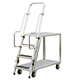 "Aluminum Ladder Cart - 2 Shelf, 22""W x 69-1/2""H x 51-1/2""L"