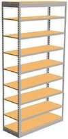 "Low Profile Rivet Shelving, 36""w x 12""d x 84""h, 350Lbs. Cap., 9 Shelves - Starter - With Decking"