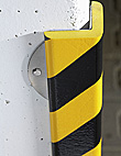 "Protective Corner Bumper Guard - 2-3/8"" x 2-3/8"" x 39-3/8"", with Steel Support, Black & Yellow"