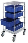 "Mobile Bin Cart with 4 Bins - 21""L x 24""w x 45""H"