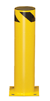 "Steel Bolt-Down Bollard, 24""H, 6-1/2"" dia., Yellow with Black Stripe"