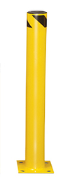 "Steel Bolt-Down Bollard, 36""H, 4-1/2"" dia., Yellow with Black Stripe"
