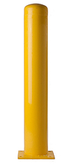 "Bolt Down Bollard 4"" X 42"" - Yellow, 8"" x 8"" x 1/2"" Base Plate"