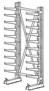 "Cantilever Rack, Med. Duty, 10'H x 6'W - Starter, (20) 20"" Inclined Arms,  850 Lbs. Cap."