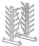 "Cantilever Rack, Med. Duty, 7'H x 6'W - Starter, (24) 12"" Inclined Arms,  1000 Lbs. Cap."