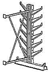 "Cantilever Rack, Med. Duty, 7'H x 6'W - Adder, (12) 12"" Inclined Arms,  1000 Lbs. Cap."